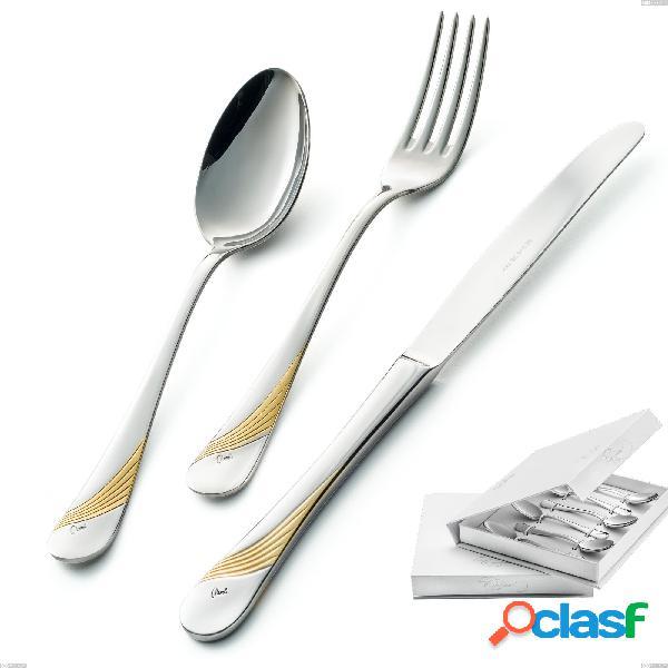 Confezione a libro 6 pezzi cucchiaino moka milano inciso oro, 18/10 (aisi304) finitura inox lucido e oro, spessore 2,5 mm