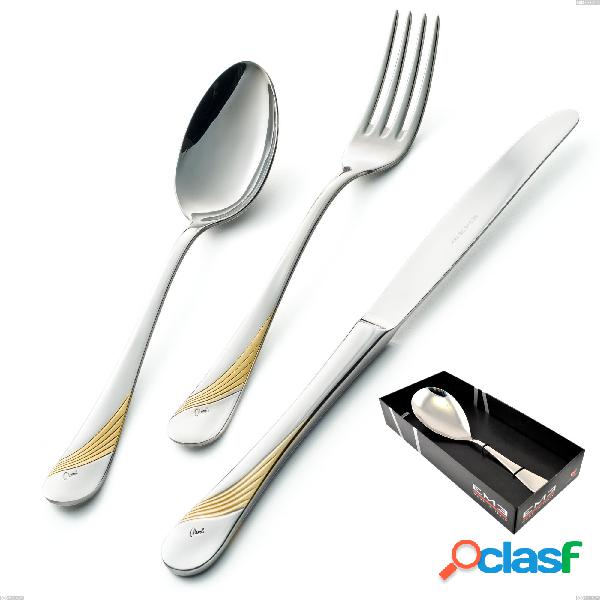 Confezione vetrina 1 pezzi pala riso milano inciso oro, 18/10 (aisi304) finitura inox lucido e oro, spessore 2,5 mm