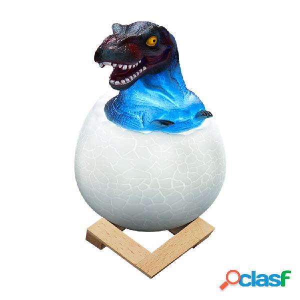 Loskii kl-02 decorativo 3d tirannosauro egg smart night light 3 colori touch switch led luce notturna