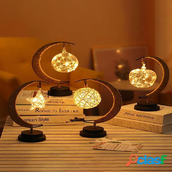 Led stars moon lampada rattan ball apple night light fatti a mano corda di canapa comodino lampada da tavolo decorativa