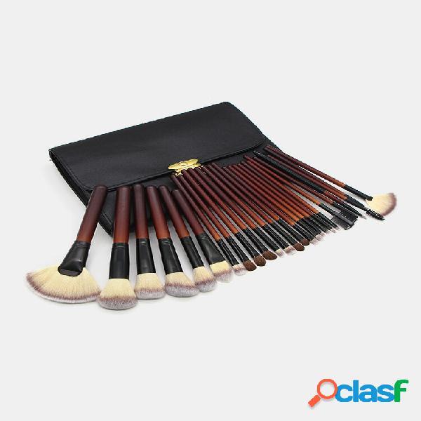26 pz trucco pennello set doppio borsa portatile animale capelli ventola pennello faccia trucco strumento