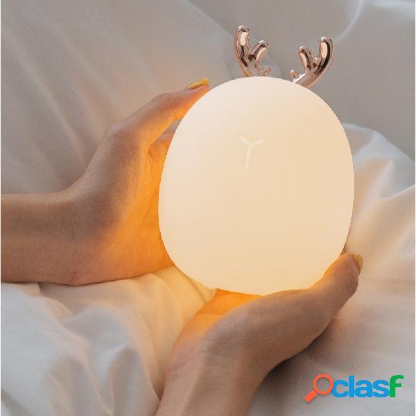 Rabbit fawn silicone led luce notturna luce bianca calda carica usb childern desk bunny night lampada