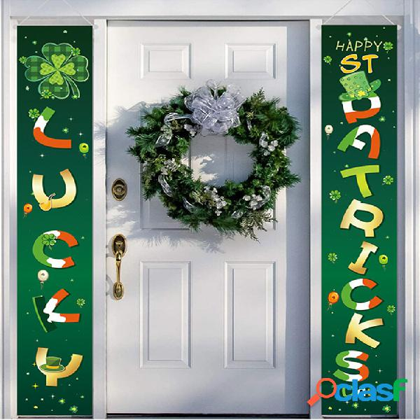 Happy st.patrick's day banner home yard indoor outdoor irish party decor porta tenda festival atmosfera couplet banner