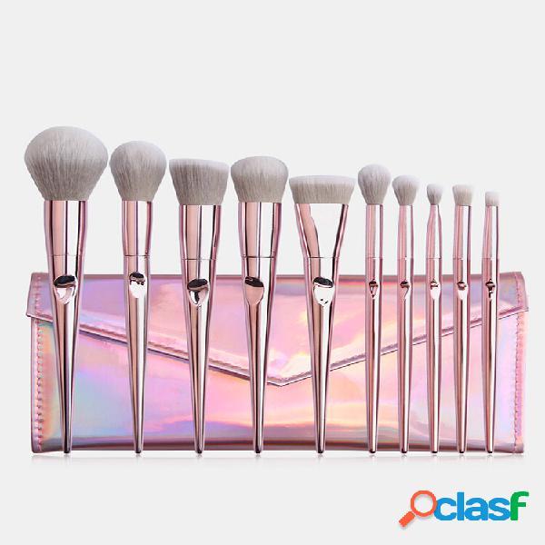 10 pezzi trucco spazzole set portable foundation blush beauty trucco pennello pennello confezione