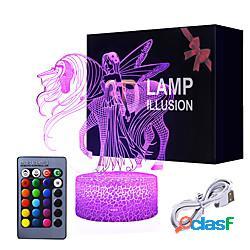Unicorno 3d night light for kids illusion lamp kids night light 7 colori che cambiano con la lampada timer smart touch telecomando giocattoli unicorno rifornimenti del partito come idea regal