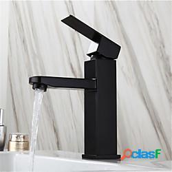 Rubinetto per lavabo in acciaio inossidabile nero, caldo e freddo, stile europeo, vernice da forno, rubinetto quadrato per lavabo monoforo lightinthebox