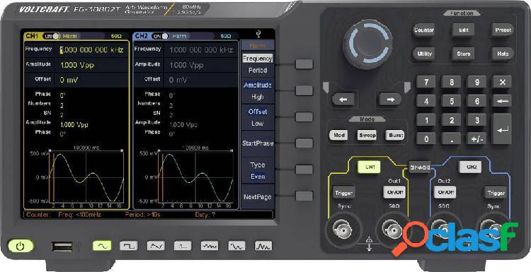 Voltcraft fg-30802t generatore di funzioni 1 µhz - 80 mhz 2 canali arbitrario, rumore, puls, quadra, sinuosidale, triangolare