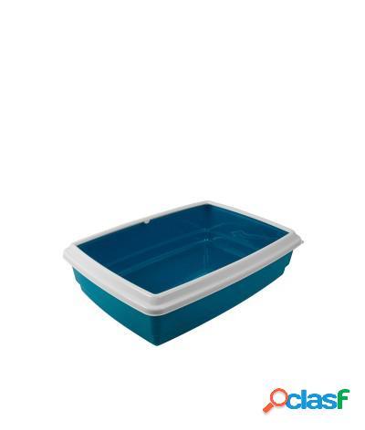 Toilette per gatti lettiera aperta jumbo 54x40x14 cm azzurro