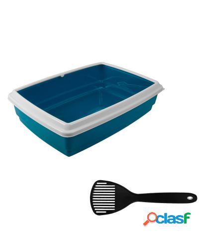Toilette per gatti lettiera aperta jumbo 54x40x14 cm + paletta azzurro