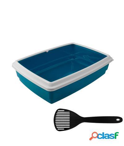 Toilette per gatti lettiera aperta max 43.5x34x11 cm + paletta azzurro