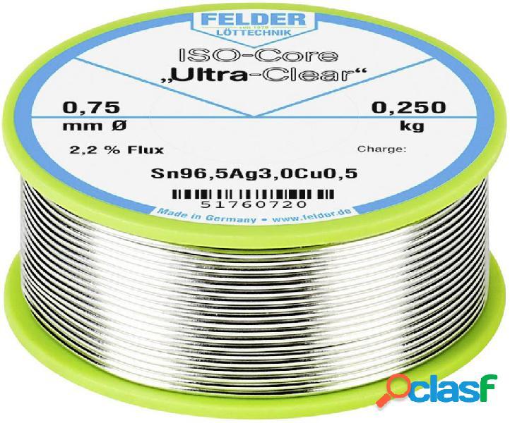 Felder löttechnik iso-core ultra clear sac305 stagno per saldatura bobina sn96.5ag3cu0.5 0.250 kg 0.75 mm