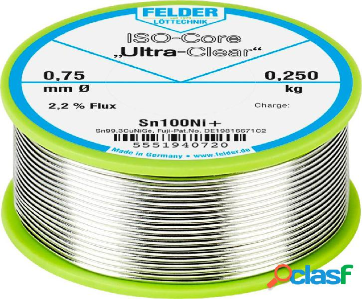 Felder löttechnik iso-core ultra-clear sn100ni+ stagno senza piombo bobina sn99.25cu0.7ni0.05 0.250 kg 0.75 mm