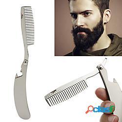 Pettine per barba mini pettine per barba portatile pieghevole pettine per barba styling per la cura degli uomini pettine pieghevole per barba in acciaio inossidabile miniinthebox