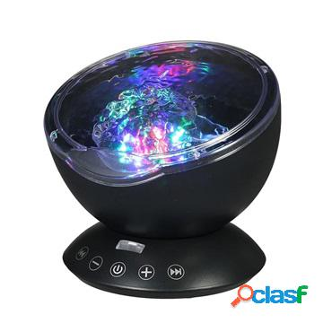 Ocean wave projector with colorful led night light - black