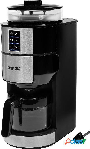 Princess 01.249408.01.001 macchina per il caffè nero, acciaio inox capacità tazze=6 funzione mantenimento calore, caraffa in vetro