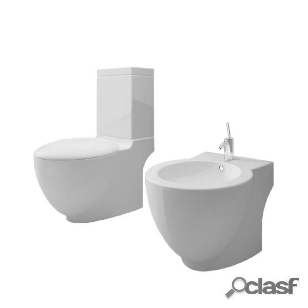 Vidaxl set toilette e bidè in ceramica bianca