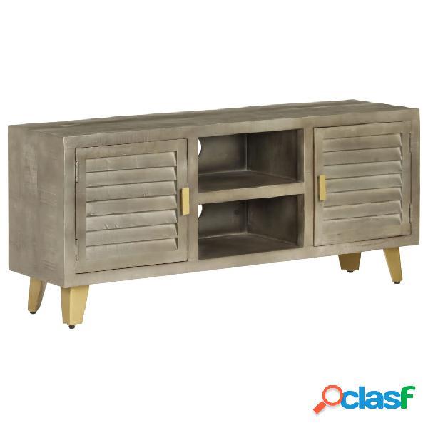 Vidaxl mobile tv legno massello di mango grigio e ottone 110x30x48cm