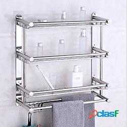 Mensole bagno mensole bagno in acciaio inox mensole bagno a muro a tre ripiani angolari con 4 ganci lightinthebox