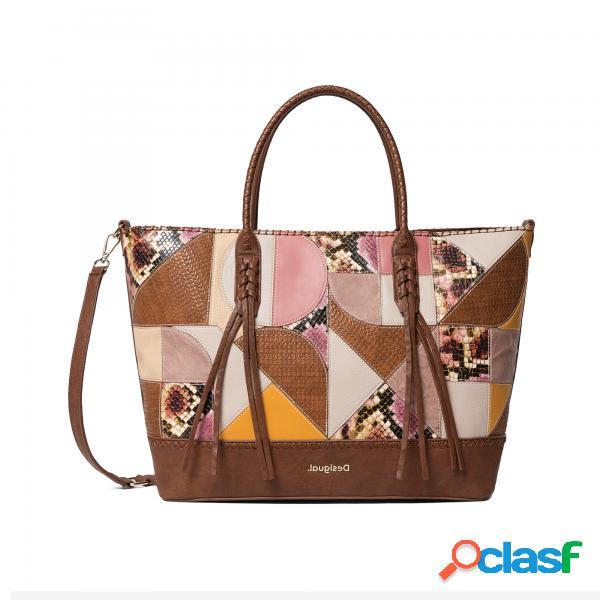 Puzzle patch bag geometrico desigual shopping bag