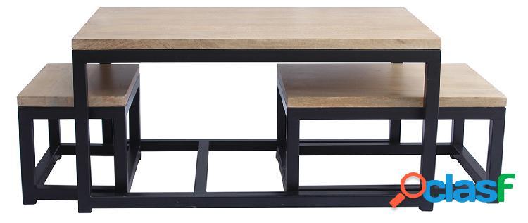 Tavolini bassi a scomparsa in mango e metallo nero (gruppo di 3) factory