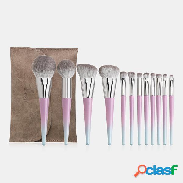 12 pezzi trucco spazzole set con pennello borsa correttore per fondotinta sopracciglio pennello trucco strumento
