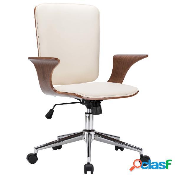 Vidaxl sedia da ufficio girevole in similpelle e legno curvato
