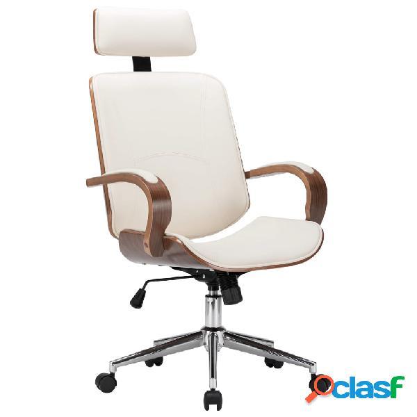 Vidaxl sedia girevole con poggiatesta crema similpelle e legno curvato