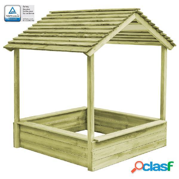 Vidaxl casetta da giardino con sabbiera 128x120x145 cm legno pino