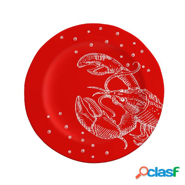 Piatto piano irregolare con falda rotondo in melamina bpa free ø 28xh2 cm -245 gr homard rouge' colore rosso con decoro