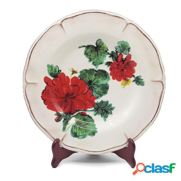 Piatto piano in ceramica girasoli da ø30 cm decoro girasoli gerani