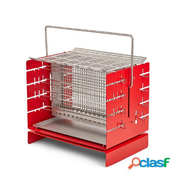 Silo grill a3 barbecue rosso, 41x30xh37 cm, in acciaio aisi 304, compatto e trasportabile, adatto per grigliate fino a 14 persone