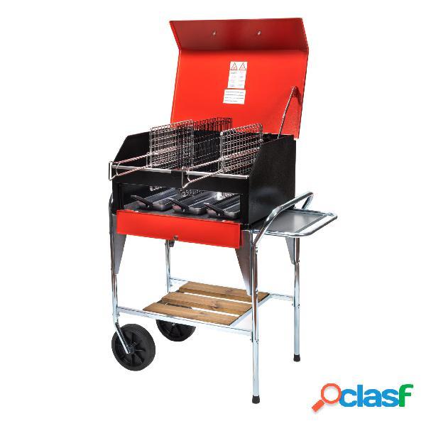 Barbecue portatile per 6-8 persone due griglie inox 25x35 cm weekend dimensioni 47xh62 cm-peso 33 kg lamiera verniciata a forno rosso