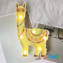 Led night light cartoon 3d alpaca aa batteria power home lampada da tavolo carino lama alpaca regalo per bambini regalo di capodanno comodino dormire illuminazione lightinthebox