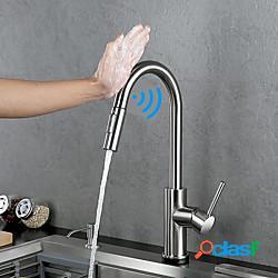 Rubinetto da cucina a una maniglia touch - sensore un foro nichel spazzolato estraibile / estraibile centeret rubinetti da cucina contemporanei in acciaio inossidabile lightinthebox