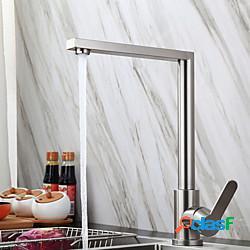 Rubinetto da cucina in acciaio inossidabile, monocomando con beccuccio standard a un foro rubinetti da cucina normali senza piombo con acqua calda e fredda lightinthebox