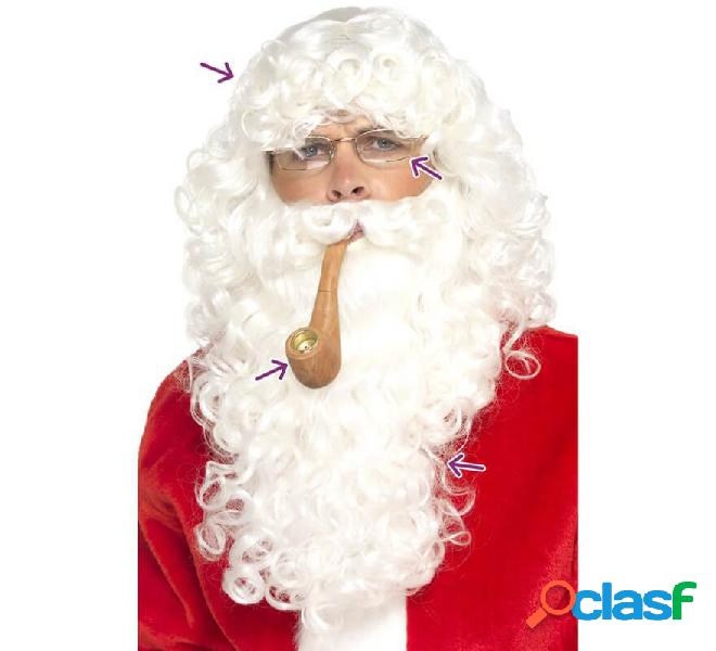 Kit da Babbo Natale bianco: parrucca, barba, occhiali e pipa