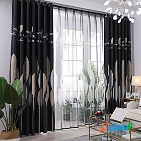 Gyrohome 1pc silver leafs shading high blackout curtain drape window home balcony dec children door customizable living room bedroom dining room