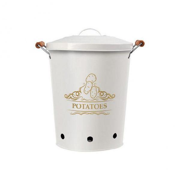 Barattolo in metallo potatoes bianco 111279