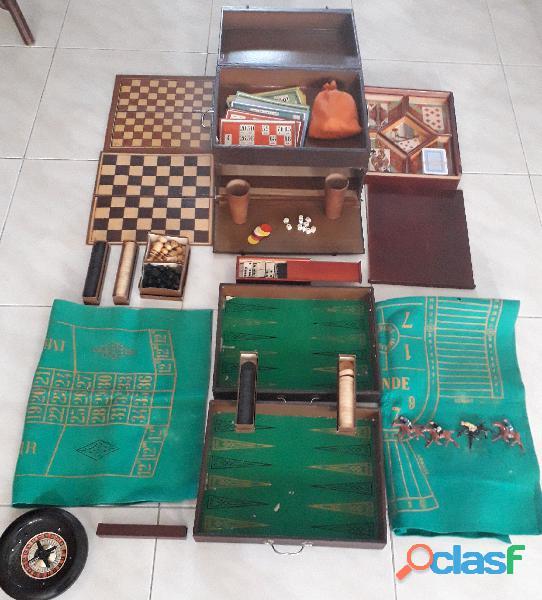 Antico bauletto in legno n° 10 giochi riuniti primi '900