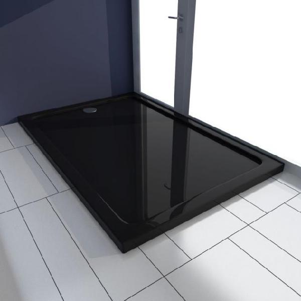 Vidaxl piatto doccia rettangolare in abs nero 80x120 cm