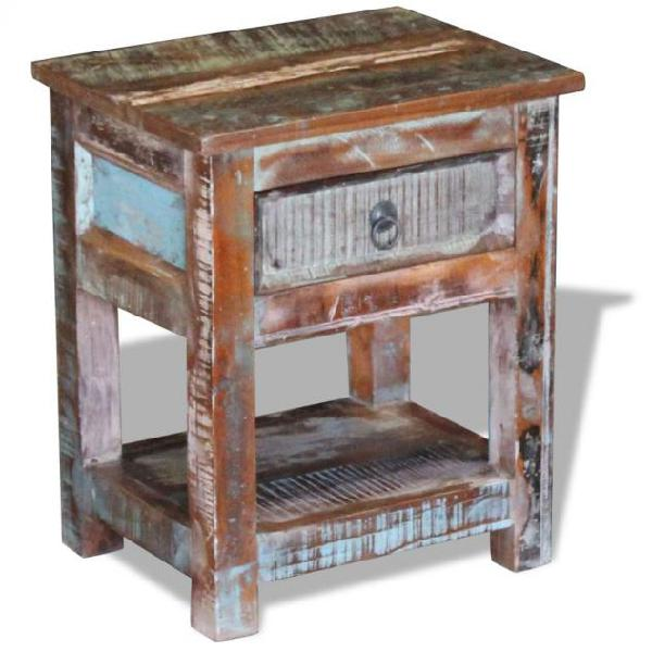 Vidaxl tavolino con 1 cassetto legno massello di recupero