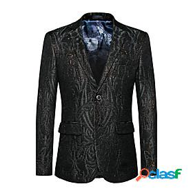Men's blazer party daily going out active sophisticated solid colored regular fit cotton / polyester men's suit black - notch lapel collar