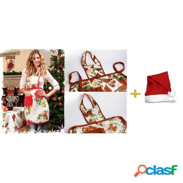 Grembiule a tema natalizio con pattina in tessuto + cappello rosso babbo natale