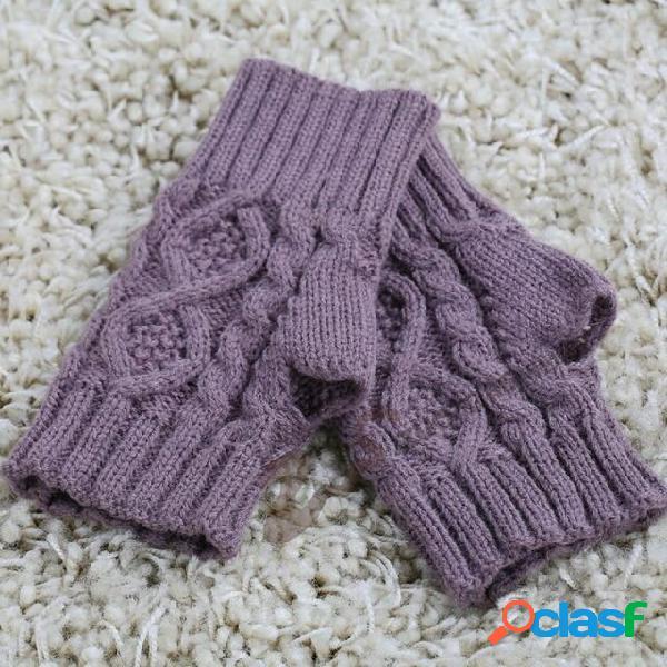 Mezzo dito in maglia di lana digitazione femmina diamante guanti