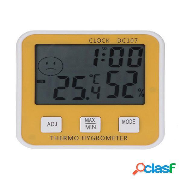 Grande misuratore di umidità della temperatura interna digitale lcd termometro orologio igrometro