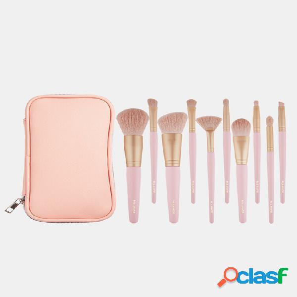 10 pezzi trucco spazzole set con pennello borsa soft correttore setole sopracciglio pennello strumento per viso trucco