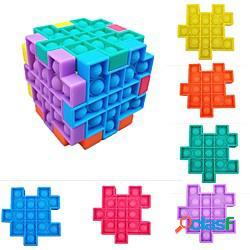 6 pezzi popsits cubo puzzle giocattolo bambini adulti anti stress antistress controller scheda fidget educativi giocattoli regali poppit miniinthebox