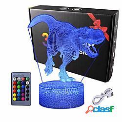 Luce notturna 3d del dinosauro - lampada illusione 3d e lampada decor a 16 cambi di colore con telecomando per regali di dinosauro per bambini per ragazzi lightinthebox