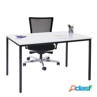 Tavolo per ufficio demi, struttura in metallo e ripiano in legno colore bianco.