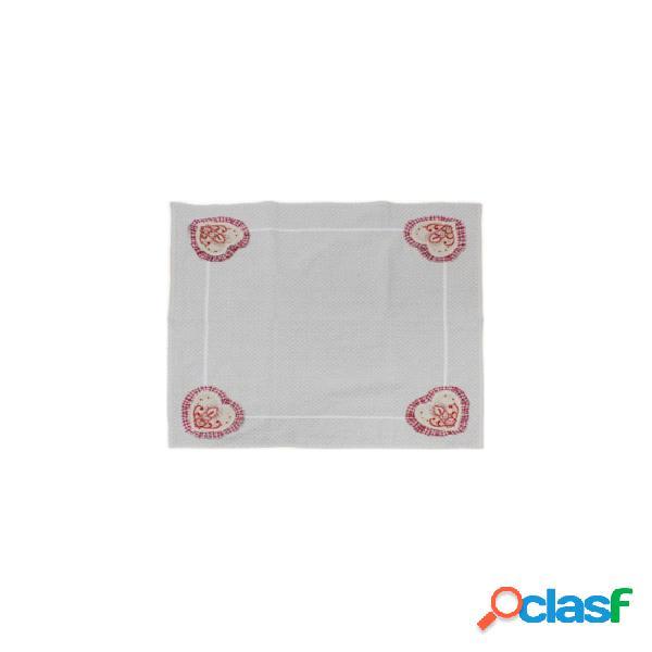 Centrotavola natalizio in tela greggia con ricamo e applicazioni - sd165753.. colore beige, tessuto cotone, misura 85x85 cm